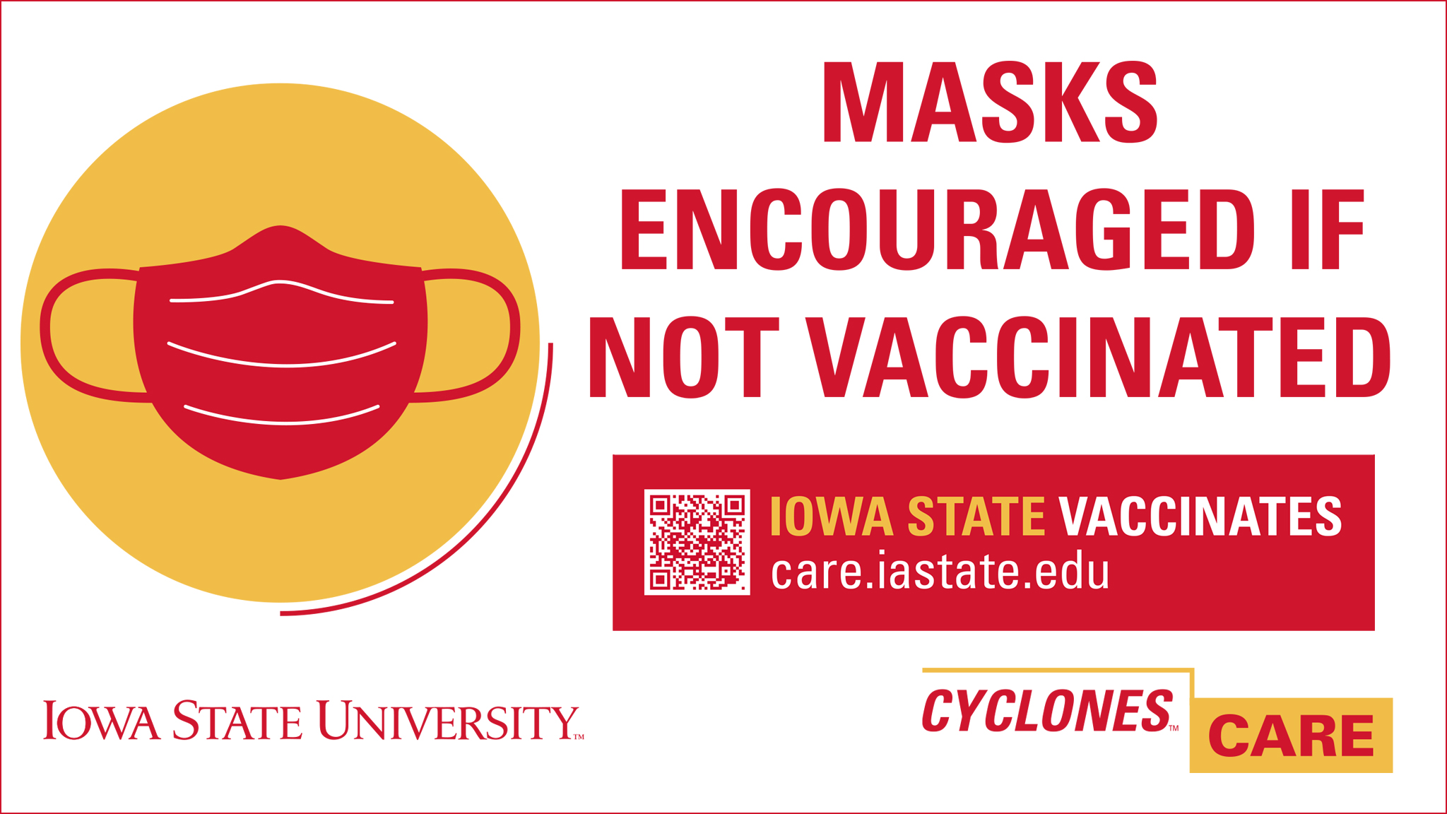 Masks encouraged if not vaccinated
